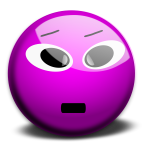 Vector clip art of purple smiley 3