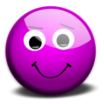 Vector illustration of purple innocent smiley