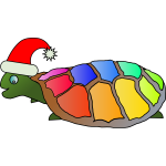 Funny turtle with santa hat