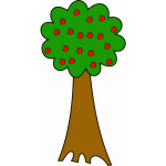 Cartoon image of tree with apples