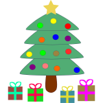 Vector clip art of cartoon presents under Christmas tree