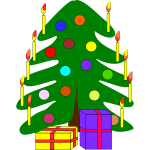 Simple decorated Christmas tree vector