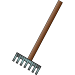 Metal hand-rake vector drawing