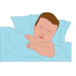 Vector image of boy in bed