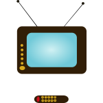 Vector illustration of a TV set and a TV remote control