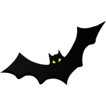 Bat silhouette with yellow eyes vector clip art