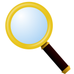 Clip art of gold-plated magnifying glass