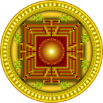 Image of yellow, red and orange mandala design