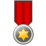 Vector illustration of golden badge on red ribbon