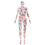 Human body with icons