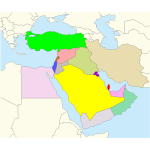 Vector graphics of Middle East map
