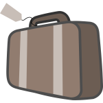 Vector image of luggage with handle and tag
