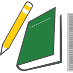 Pen, notebook and ruler vector image
