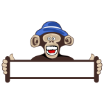 Monkey holding blank sign