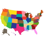 Multi-Colored United States Map