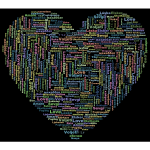Multilingual Love Heart Word Cloud