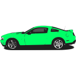 Vector illustration of green Mustang