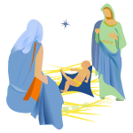 Vector image of interpretation of the nativity scene with a star