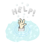 Cartoon drawing of a drowning kid's hand