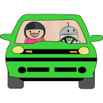 Green car cartoon style