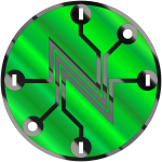 Shiny green electric circuit symbol