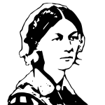 Black and white vector image of medical nurse