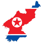 North Korea Map Flag With Stroke