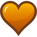 Orange heart with thick brown border vector clip art