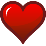 Red heart with thick brown border vector drawing