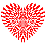 Optical Illusion Checkerboard Heart Red