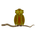 Owl on a branch cartoon image