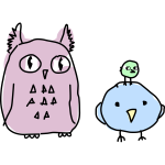 Owl and two birds cartoon drawing