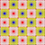 Red and blue squares pattern creating an optical illusion vector drawing