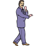 Man in a fashionable purple suit vector graphics