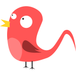 Red cartoon bird