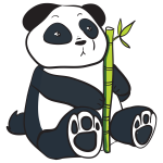 Panda With Bamboo Stalk