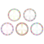 Vector illustration of set of peace symbols in pastel colors