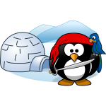 Vector image of pirate penguin in Antartica