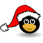 Funny Penguin face with Santa Claus hat
