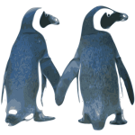 Vector image of penguins
