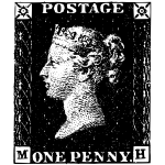 One penny post stamp