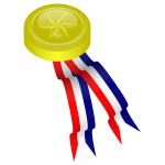 Vector image of gold medallion with red, blue and white ribbon