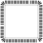 Piano keys in a square frame