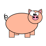 Orange pig with big eyes vector drawing