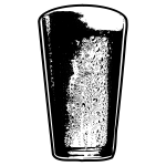 Vector clip art of cold pint of beer in black and white