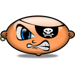 Vector drawing of Glass-style emoticon of an angry pirate character
