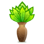 Vector graphics of brown vase with large green leaves