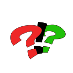 Vector graphics of red and green question and exclamation marks