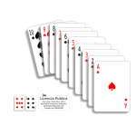 Vector illustration of poker cards in a line
