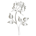 Polished Silver Rose Silhouette No Background